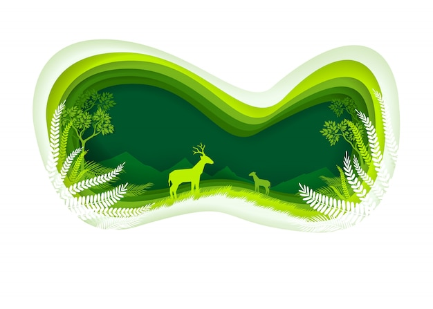 Cerfs dans la forêt verte. style de coupe du papier Vecteur Premium