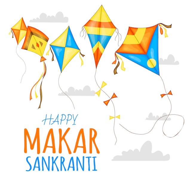 Cerfs-volants colorés de vecteur pour la célébration du festival happy makar sankranti. Vecteur Premium