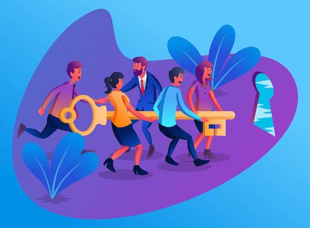 Certains Employés Avec Un Leader Travaillant Ensemble Pour Lever Une Clé Pour Ouvrir La Porte Du Succès, Illustration Plate Vecteur Premium