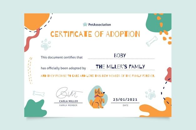 Certificat D'animaux Abstraits Ressemblant à Des Enfants Vecteur gratuit