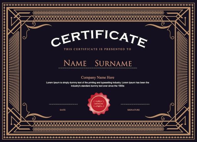 Certificat Antique S'épanouit Modèle De Vecteur élégant Vecteur Premium
