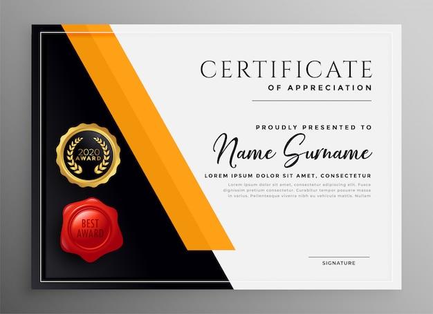 Certificat D'appréciation Conception De Modèle Professionnel Yelllow Vecteur gratuit