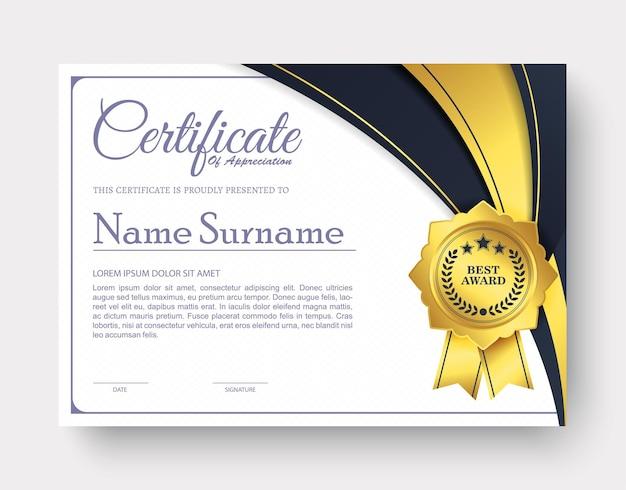 Certificat D'appréciation Meilleur Diplôme Vecteur Premium
