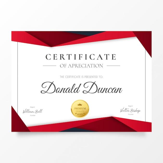 Certificat d'appréciation moderne avec des formes en papier rouge découpé Vecteur gratuit
