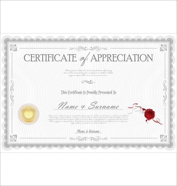 Certificat d'appréciation Vecteur Premium