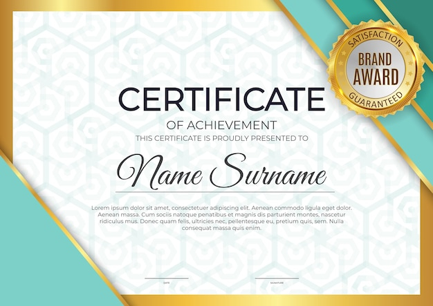 Certificat, Arrière-plan Du Modèle De Diplôme. Vecteur Premium