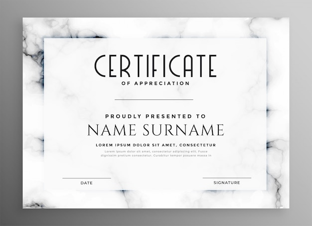 Certificat blanc élégant avec texture en marbre Vecteur gratuit