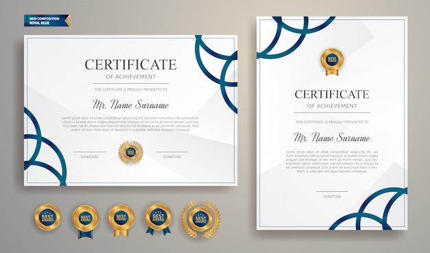 Certificat Bleu Avec Badge Or Et Modèle De Bordure Vecteur Premium
