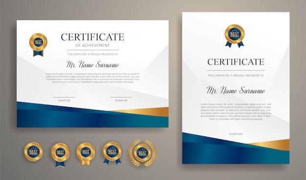 Certificat Bleu Et Or Avec Modele De Badge Et Bordure Vecteur Premium