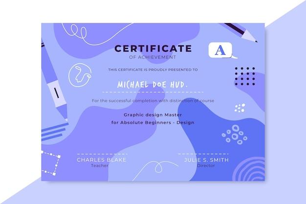 Certificat De Conception Monochrome Dessiné à La Main Vecteur gratuit
