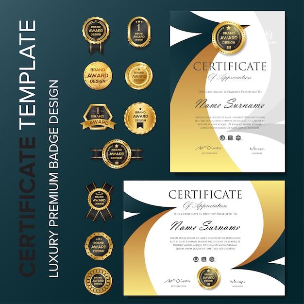 Certificat de création avec badge Vecteur Premium