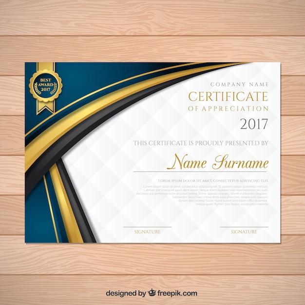 certificat d'études élégant avec des formes ondulées Vecteur gratuit