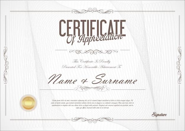 Certificat ou diplôme design rétro Vecteur Premium