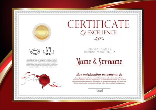 Certificat Ou Diplôme Design Vintage Rétro Vecteur Premium
