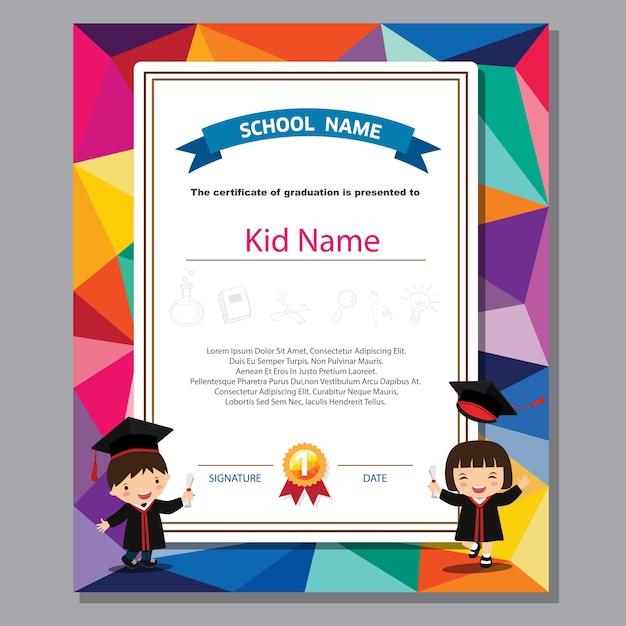 Certificat de diplôme préscolaire enfants certificat coloré Vecteur Premium