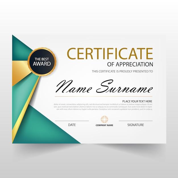 Certificat horizontal vert elegant avec illustration vectorielle Vecteur gratuit