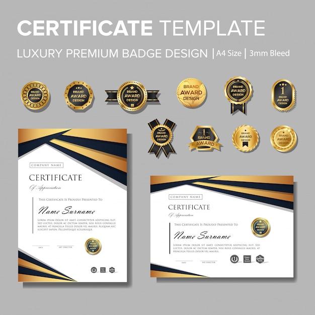 Certificat de luxe professionnel avec badge Vecteur Premium