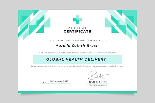Certificat Médical Monocolore Géométrique Vecteur gratuit