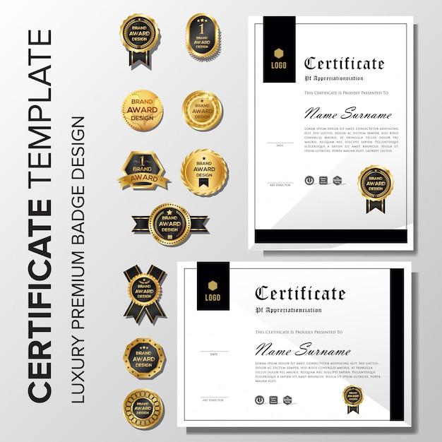 Certificat minimaliste avec badge Vecteur Premium