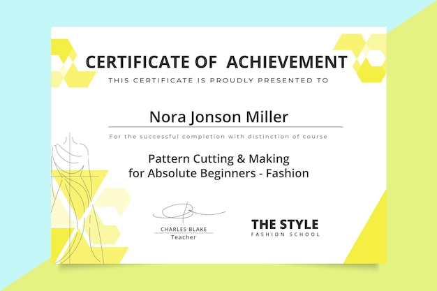 Certificat De Mode Monocolore Géométrique Vecteur gratuit