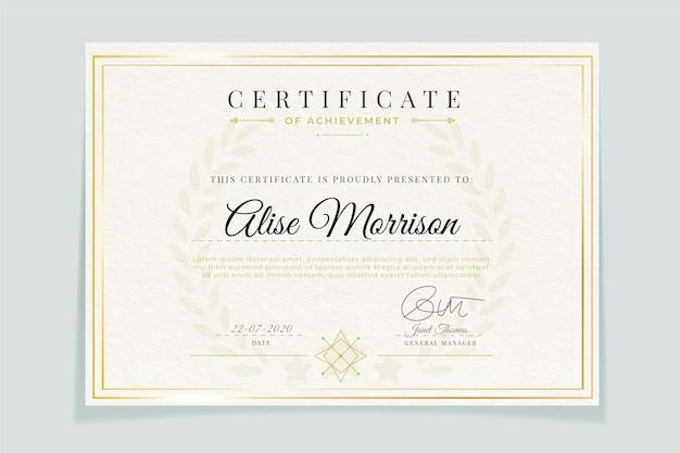 Certificat De Modèle élégant Avec Cadre Vecteur Premium