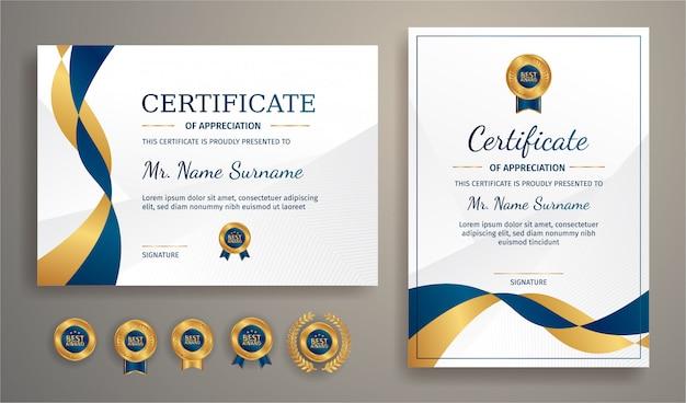 Certificat Moderne En Bleu Et Or Avec Insigne En Or Et Modèle De Bordure Vecteur Premium