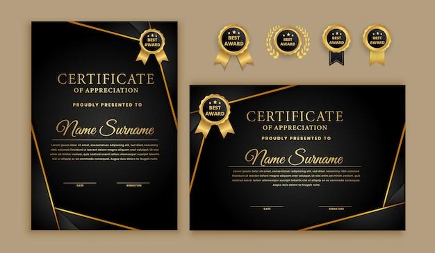 Certificat Moderne Avec Jeu De Badges Vecteur Premium