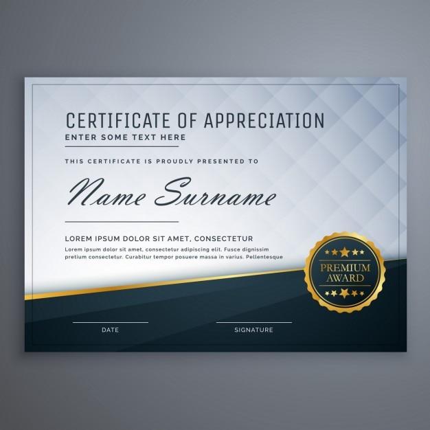 Certificat moderne prime de conception du modèle d'appréciation Vecteur gratuit