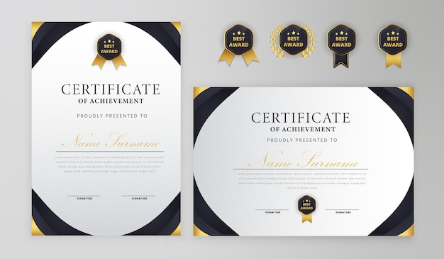 Certificat Noir Et Or Avec Modèle De Badge A4 Vecteur Premium