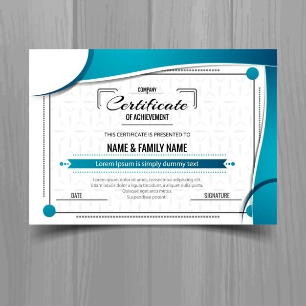Certificat ondulé bleu Vecteur gratuit
