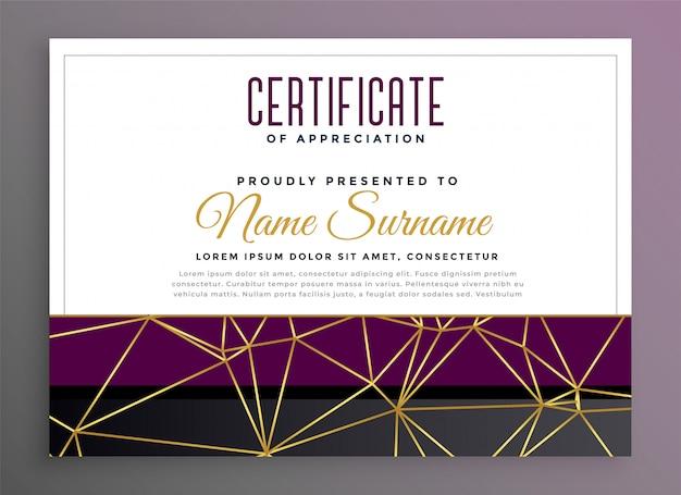 Certificat polyvalent premium avec lignes dorées low poly Vecteur gratuit