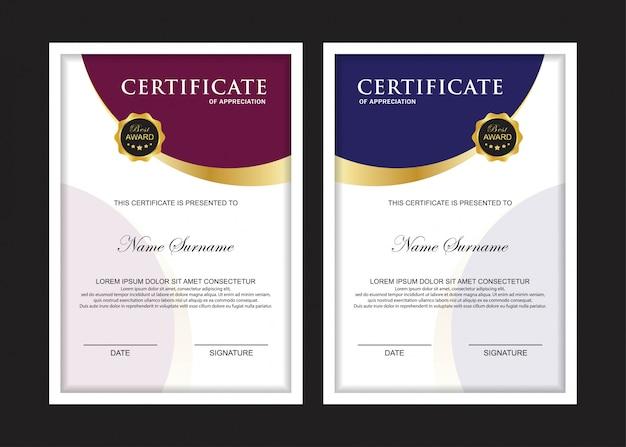 Certificat premium set modèle avec violet et bleu Vecteur Premium