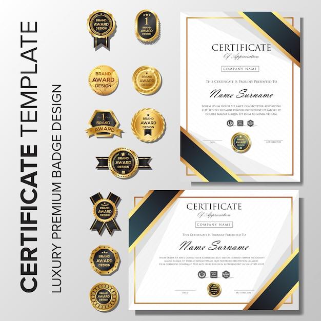 Certificat professionnel élégant avec badge Vecteur Premium