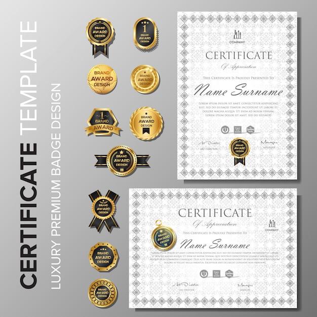 Certificat professionnel avec modèle de badge Vecteur Premium