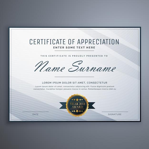 Certificat propre de conception de gabarit d'appréciation Vecteur Premium