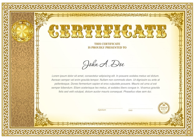 Certificat de réalisation modèle vierge. Vecteur Premium