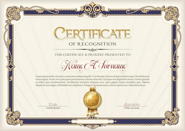 Certificat De Reconnaissance Vintage Frame. Vecteur Premium