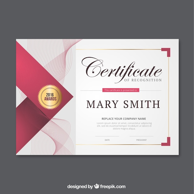 certificat Résumé des lignes Vecteur gratuit