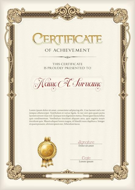 Certificat De Réussite Vintage Frame. Vecteur Premium