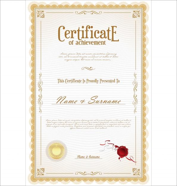 Certificat de réussite Vecteur Premium