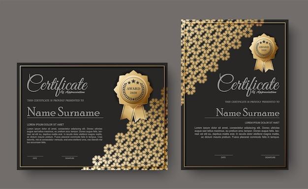 Certificat Sombre Avec Motif Floral Vecteur Premium