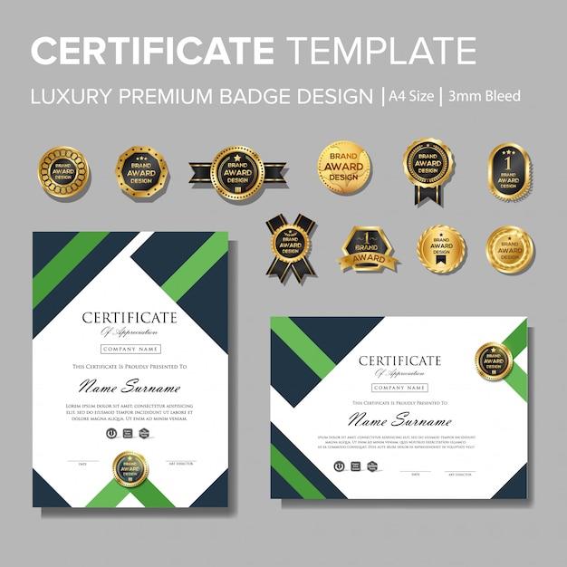 Certificat vert moderne avec badge Vecteur Premium