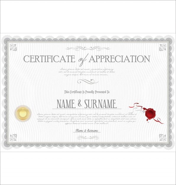 Certificat Vecteur Premium