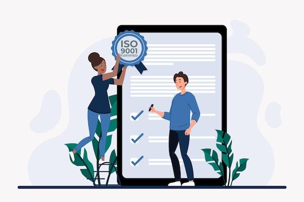 Certification Et Contrôles Iso 9001 Vecteur gratuit