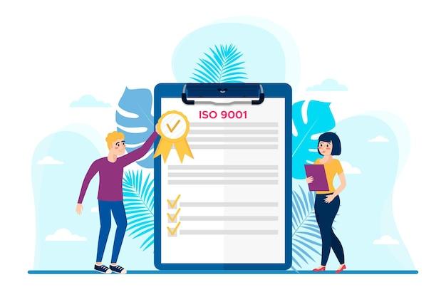 Certification Iso 9001 Avec Des Personnages Féminins Et Masculins Vecteur Premium