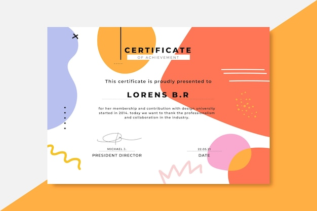 Certificats De Conception Colorés Dessinés à La Main Vecteur gratuit