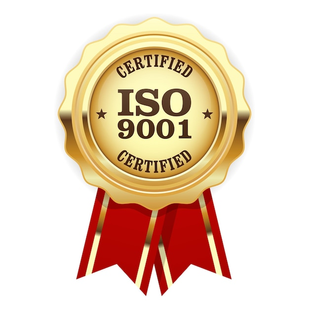 Certifié Iso 9001 - Sceau D'or Standard De Qualité Vecteur Premium
