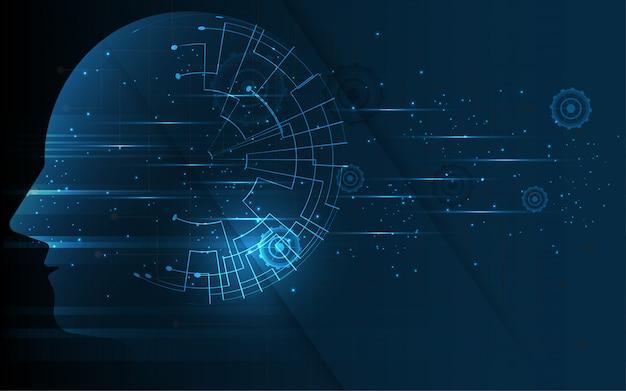 Cerveau dans la tête de l'intelligence artificielle humaine Vecteur Premium