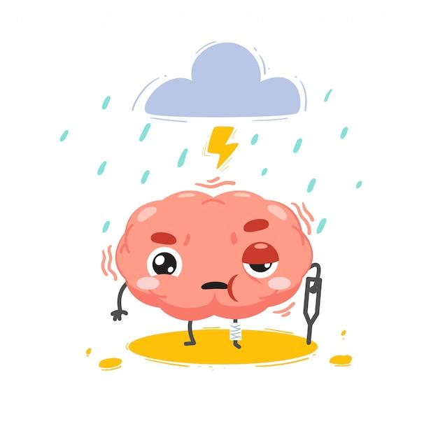 Le Cerveau Est Blessé Par Une Tempête Au-dessus. Illustration Isolée Vecteur Premium