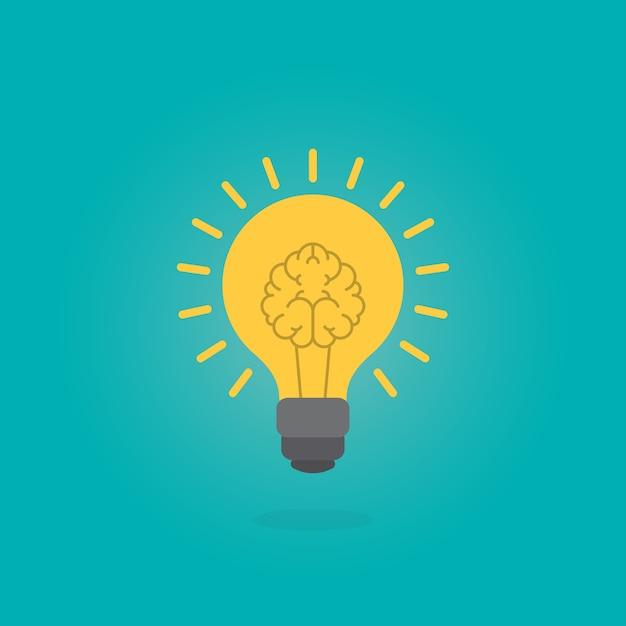 Cerveau humain comme lampe ampoule Vecteur Premium